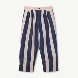 復古藍粉直條紋寬版長褲