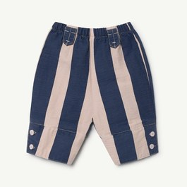 Baby 復古藍粉直條紋寬版長褲