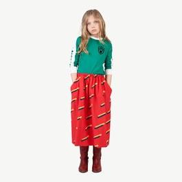 Sow 復古紅薄款幾何中長裙