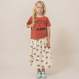 蝴蝶造型薄棉中長裙 (版型偏大)