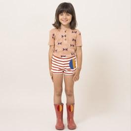 葉子布貼毛巾料條紋短褲(合身版型)
