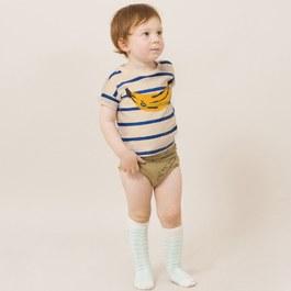 Baby 香蕉造型有機棉條紋上衣(版型偏大)