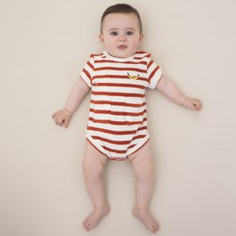 Baby 香蕉條紋毛巾料連身衣