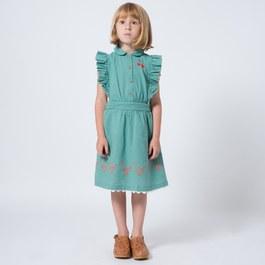 櫻桃刺繡飛飛袖洋裝(版型偏大)