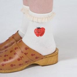 蘋果笑臉蕾絲短襪