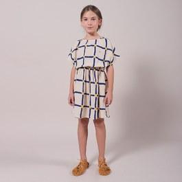 格紋有機皺棉洋裝