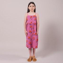 花朵肩帶中長版平織薄棉洋裝