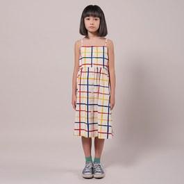 格紋肩帶中長版平織洋裝