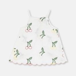 櫻桃刺繡斜開露背上衣