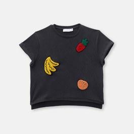 水果徽章薄棉上衣