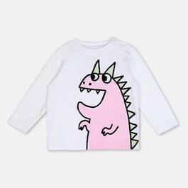 Baby 粉色恐龍有機棉上衣