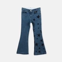 星星丹寧喇叭褲