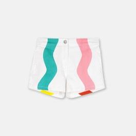 彩色波浪薄丹寧短褲