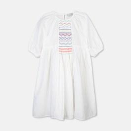 刺繡棉麻混中長版寬洋裝(版型偏大)