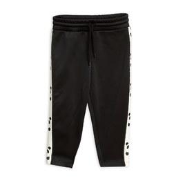 熊貓織帶微刷毛衛褲_黑