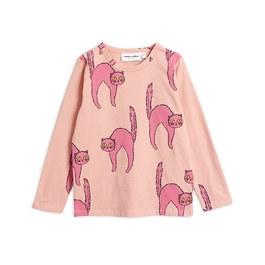 粉色貓咪有機棉長袖上衣