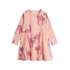 粉色貓咪有機棉長袖洋裝