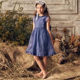 Flora 迷幻藍雪紡蓬裙小禮服