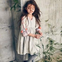 Breta 圖騰刺繡七分袖洋裝