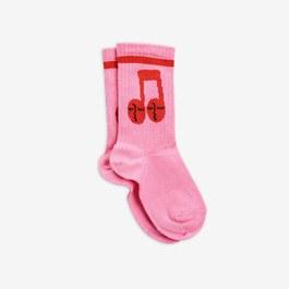 音符霓虹粉中筒襪