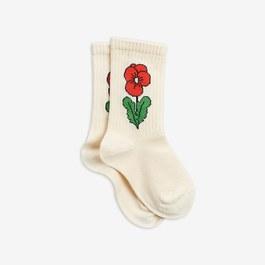 三色堇奶油白中筒襪