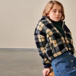 AIKO 軟棉棉格紋刷毛夾克