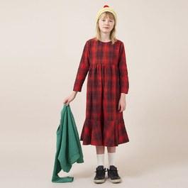 格紋荷葉裙襬長洋裝