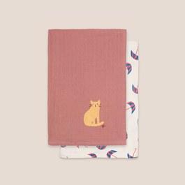 貓咪雨傘紗布大方巾(二入組)