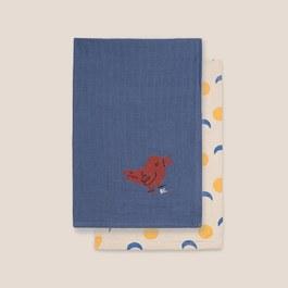 小鳥太陽紗布大方巾(二入組)
