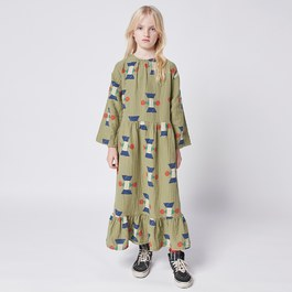橄欖綠皺棉長版洋裝(版型偏大)