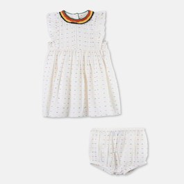 Baby Apricot 編織刺繡洋裝
