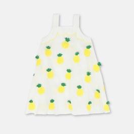 鳳梨刺繡A line長版洋裝