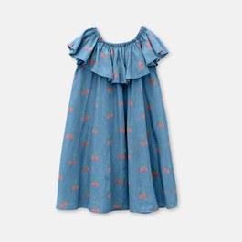 櫻桃荷葉領長版洋裝