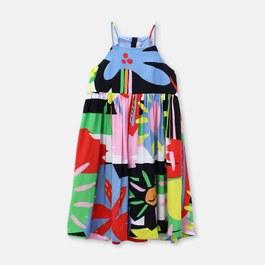 繽紛夏日長版絲質洋裝