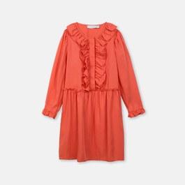 羅賓紅荷葉絲質洋裝(版型偏大)