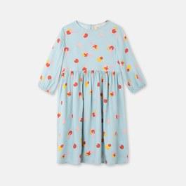 水藍色幾何小花絲質洋裝