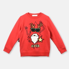 紅色聖誕徽章衛衣(寬鬆版型)