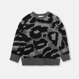 混羊毛迷彩針織套頭衫