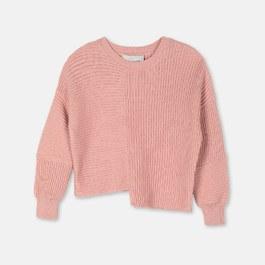 混羊毛不規則短版針織上衣