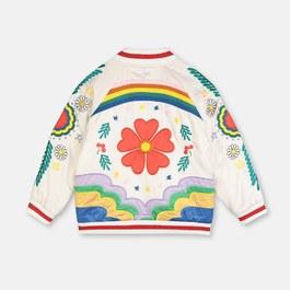 彩虹花朵刺繡飛行員夾克(薄款)