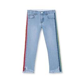 彩虹logo織帶抽鬚丹寧褲