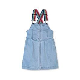 彩虹logo織帶丹寧吊帶裙