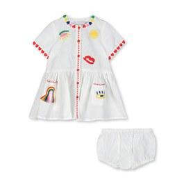 Baby民俗風刺繡棉麻混洋裝(寬鬆版)