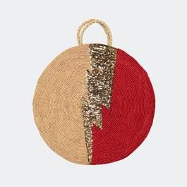 Bowie 亮片閃電拉菲草編織袋