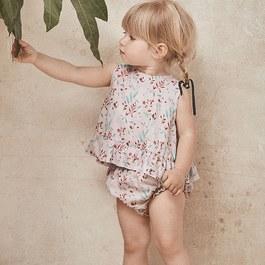 Baby 花朵絲質背斜開上衣