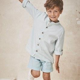 男孩絲麻混短褲_薄荷藍