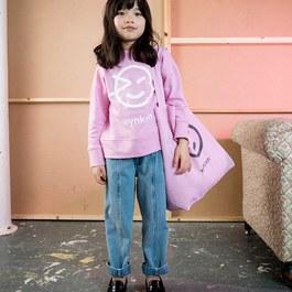 經典藍刷色丹寧錐形寬褲