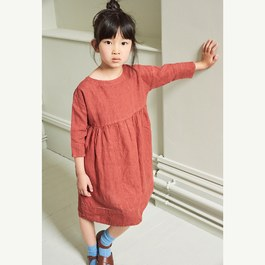 Wimbledon 紅椒七分袖麻質洋裝(版型偏大)