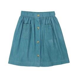 Charlotte 湖水綠燈芯絨及膝裙