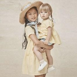 檸檬黃嵌花綁帶洋裝